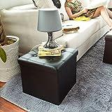 Haotian Faux Leather Storage Ottoman,Folding Storage Bench with Seat Cushion,FSS16-K-SCH(black, 38 x 38 x 38 cm) For Sale