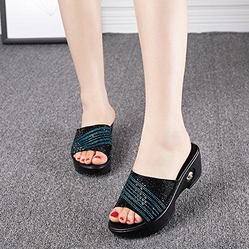 Zapato Verano color Medio Lixiong Mamá 3 Eu39 Zapatillas zapatos cn39 Con Wedgies Azul Moda 6cm Fondo Altura Grueso Rojo De Antideslizante Mujer uk6 Talón 245 Tamaño Colores qPHEP