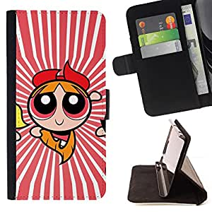 DEVIL CASE - FOR Samsung Galaxy S4 IV I9500 - Superhero Girl Red Stripes Flying Cartoon - Style PU Leather Case Wallet Flip Stand Flap Closure Cover