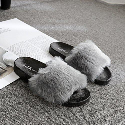 Fankou Autunno e Inverno pantofole home giovane anti-slittamento e camera da letto home cose carine da indossare uomini cotone pantofole estate femmina ,40, grigio chiaro conteggio Standard
