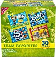 Nabisco Team Favorites Variety Pack, OREO Mini, CHIPS AHOY! Mini, Teddy Grahams Honey & Barnum's Animal Crackers, 30...
