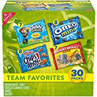 Nabisco Team Favorites Variety Pack, OREO Mini, CHIPS AHOY! Mini, Teddy Grahams Honey & Barnum's Animal Crackers, 30 Snack Packs
