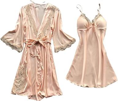 RISTHY Lencería Erotica de Mujer,Ropa de Dormir 2 Piezas Batas Sexy Conjunto Pijamas Vestidos Cortos Aspecto Brillante Camisón de Encaje de Lencería de Seda Traje de Tirantes de Satén: Amazon.es: Ropa y