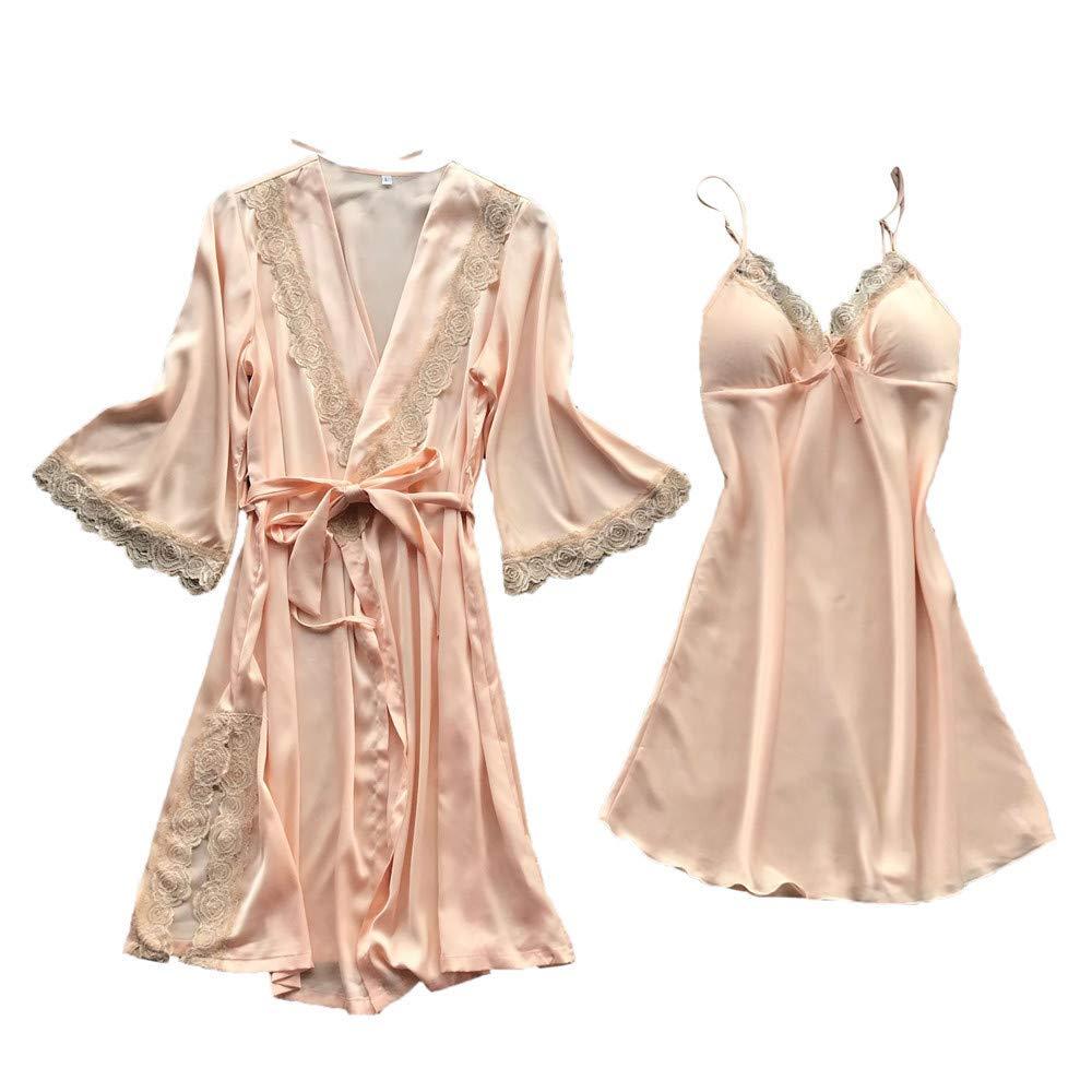 fc2076ab1c Women Silk Robe Dress Lace Babydoll Nightdress Sleepwear Kimono Set at  Amazon Women's Clothing store: