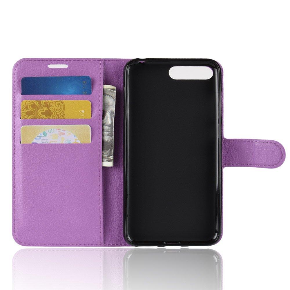 TANYO Custodia Huawei Y6 2018 Portafoglio in Pelle PU Ultrasottile alla Moda Marrone con Slot per schede e Staffa. Chiusura Magnetica