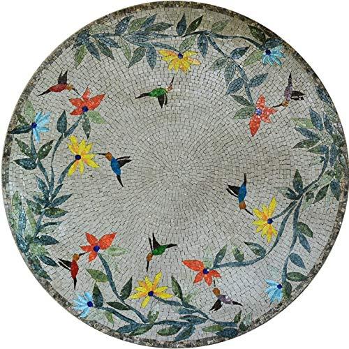 Mosaic Art Medallion - Birds and Trees   Mosaic Art   Mosaic Designs   Mosaic Artwork   Mosaic Wall Art by Mozaico   Handmade Mosaics   60