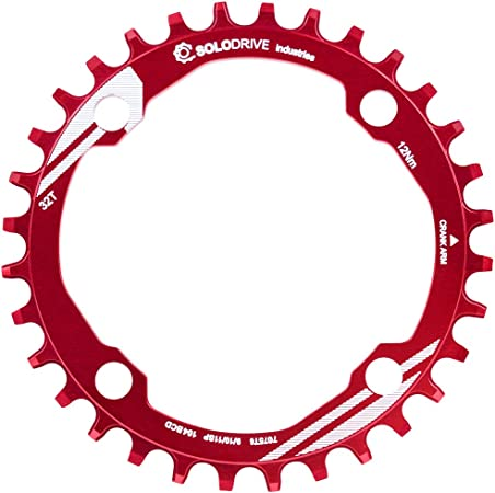 SOLODRIVE 104BCD Mountain Bike Narrow Wide Chainring, 104mm BCD Single Chainring for 9/10/11-Speed MTB, Trail, Fat Bike