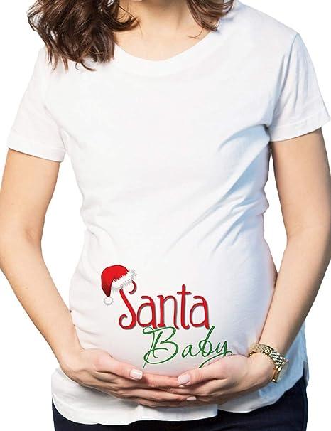 besbomig Camiseta de Embarazada Poliéster Manga Corta Blanca Camiseta Blusas de Maternidad de Las Mujeres Tops con Estampado Divertido: Amazon.es: Ropa y ...