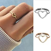 Finemall Gold and Silver 14K Gold Heart-Shaped Ring Hollow Best Friends Promise Ring Gifts for Girls Friendship Jewelry Size 6-10 (Silver, Size 6)