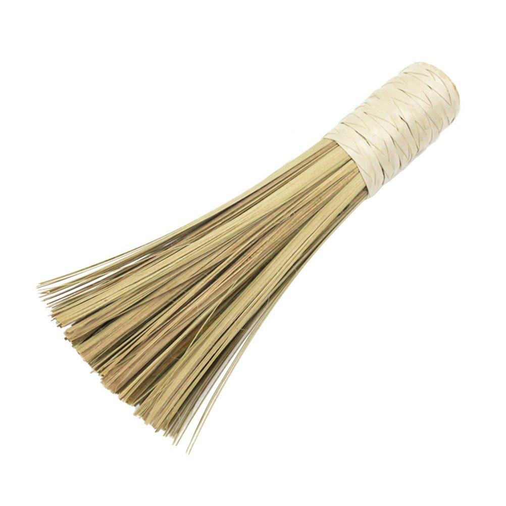 OUNONA Bamboo Wok Cleaning Whisk Brush Kitchen Cookshop Wok Pan Pot Cleaning Whisk Brush with Comfortable Handle