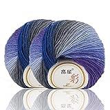 #9: 50g×2 Skein Rainbow Yarn Soft Warm Wool Crochet Colorful Yarn for Hand Knitting by NICEEC Total Length 180m×2(196yds×2)-2