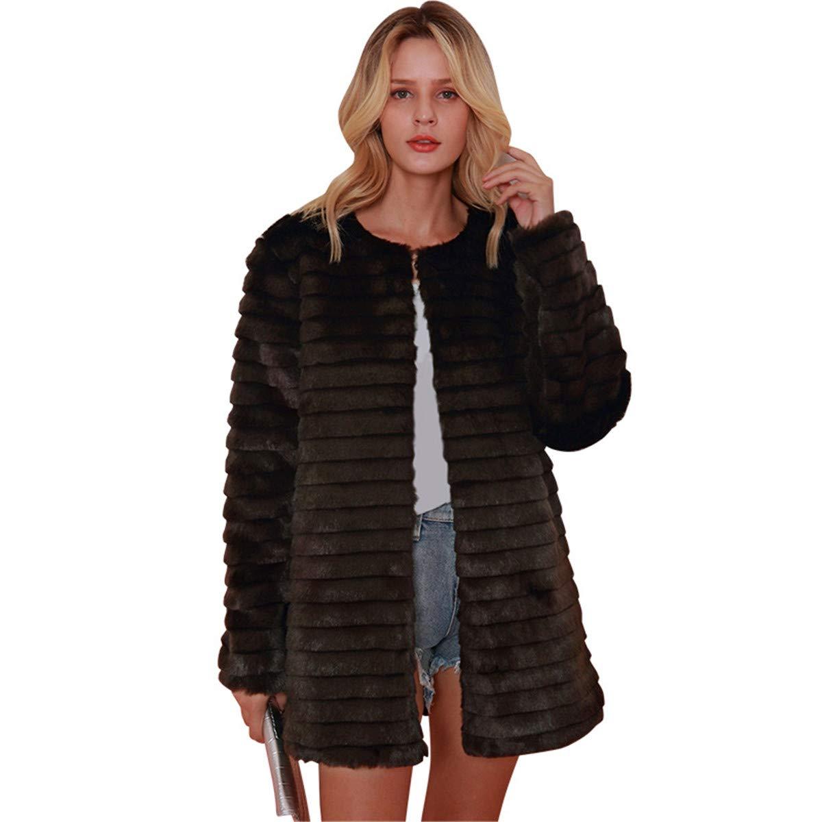 Leepus Women Coat Fluffy Faux Fur Solid Color Stripes Long Sleeve Warm Autumn Winter Hairy Luxury Jacket Coffee by Leepus