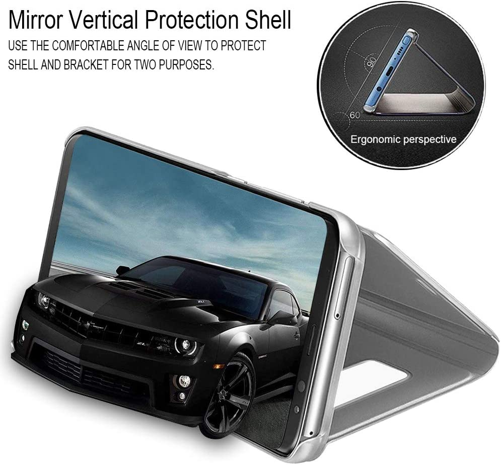 Ultra-Slim Hard PC Leather Cover Makeup Plating Luxury Elegant Crystal Case Standing View Bookstyle Shockproof Case Cover Silver TVVT Mirror Flip Csae for Motorola Moto G8 Power Lite Case