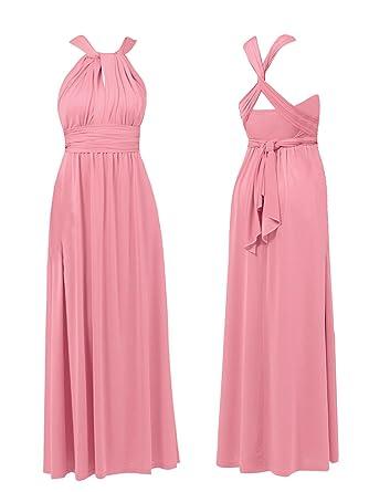 NEW WOMENS DEBUT DEBENHAMS MULTIWAY MAXI DRESS EVENING PROM BRIDESMAID PINK (8)