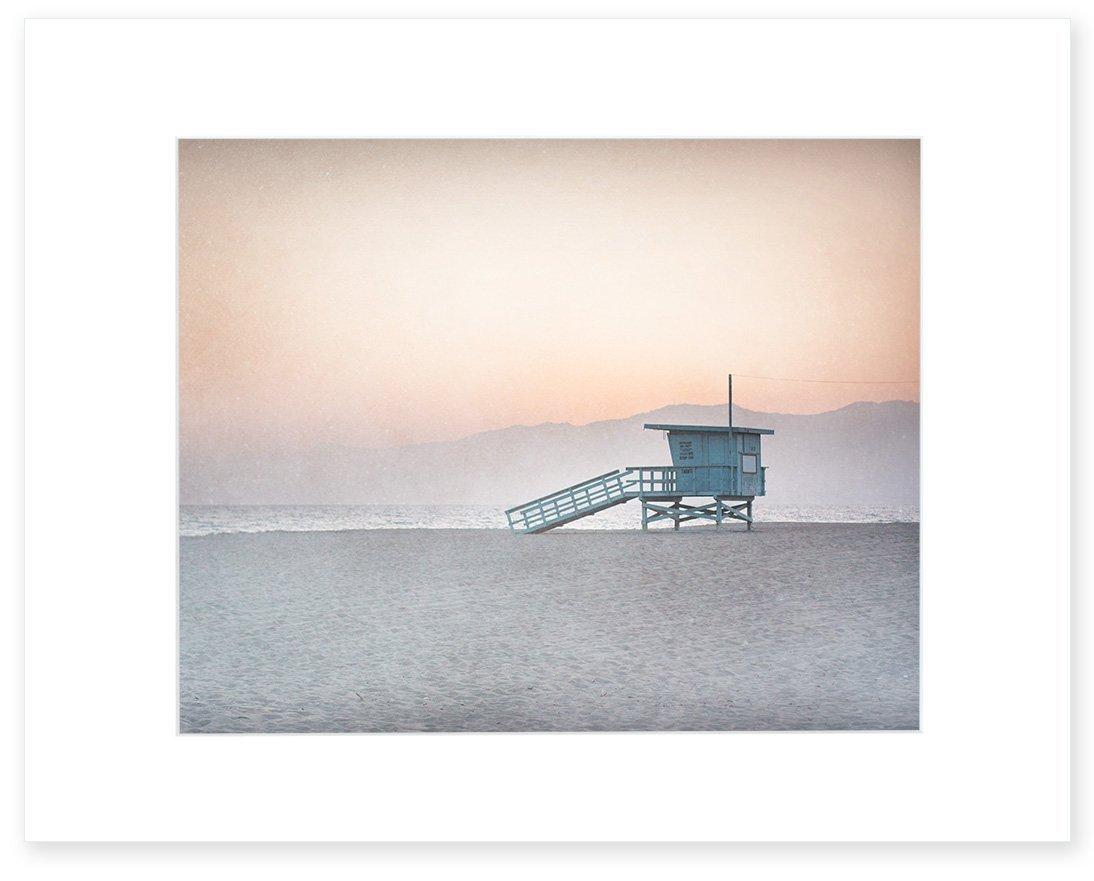 Pink Beach Art, Coastal Wall Art, Beach Wall Decor, California Print, Venice Beach Picture, Los Angeles, Santa Monica 8x10 Matted Print (fits 11x14 frame) 'Lifeguard Tower'