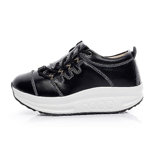 Shenn Mujer Calzo Aptitud Para caminar Negro Cuero Entrenadores Zapatos 1062 EU35.5 SFwfID