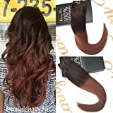 Sunny Weft Human Hair Extensions Darkest Brown to Auburn Remy Ombre Brazilian Natural Straight Human Hair Weave Bundles 100g 22 Inches