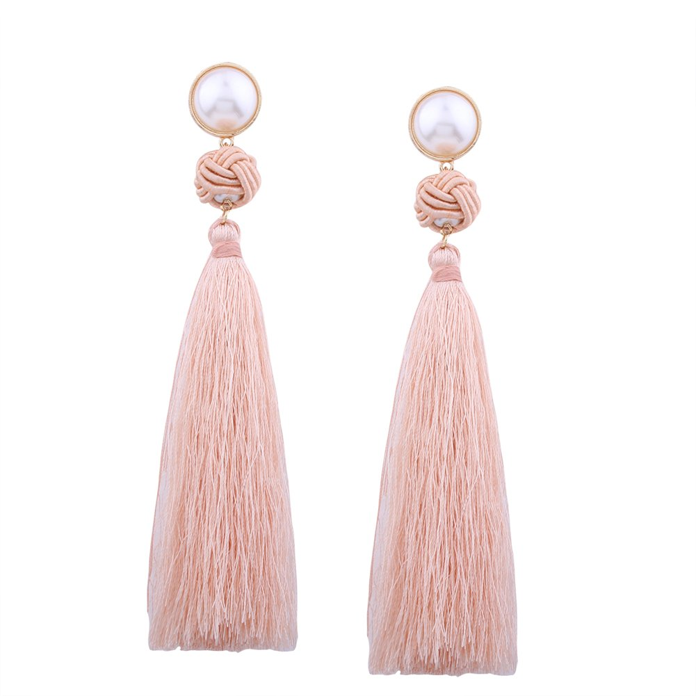 Aibelly Bohemian Vintage Ethnic Chinese Knot Tassel Statement Dangle Drop Earrings New Fashion Handmade Thread Imitation Pearls Stud Earrings for Woman Girls