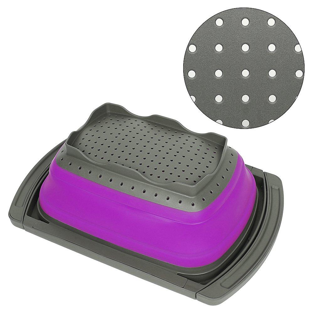 Violet sans BPA passe au lave-vaisselle sur la stabilit/é de l/évier de cuisine avec base pour debout Philwin Contenance de 3.8l Passoire pliable