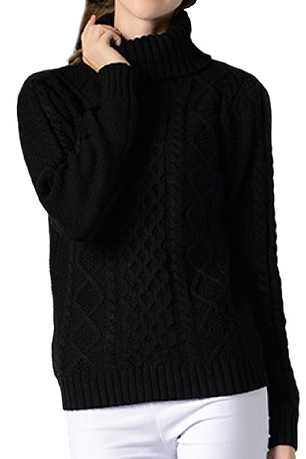 Yacun Women Pullover Sweaters Long Sleeve Turtleneck Cable Knit Jumper