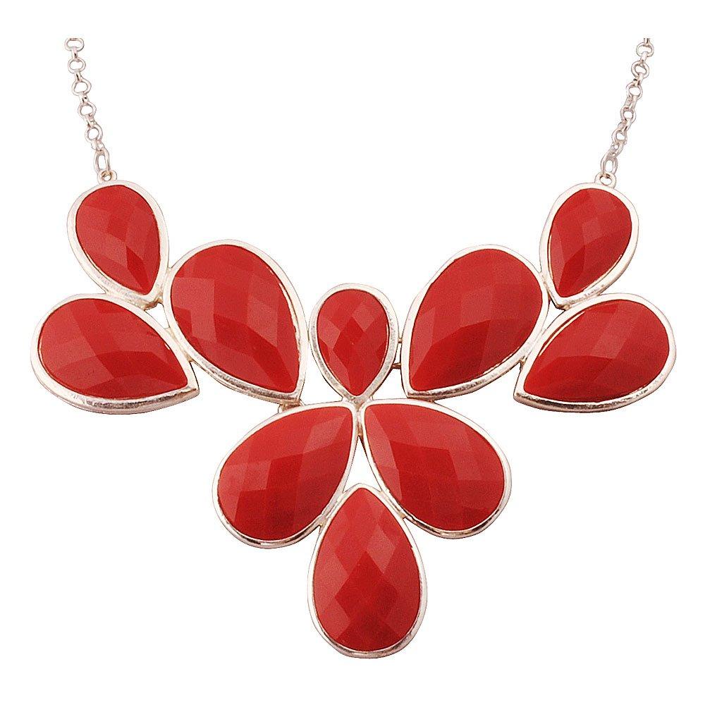 Jane Stone Red Statement Flower Necklace Fashion Bib Chunky Wedding Jewelry (Fn0835-S-Red)