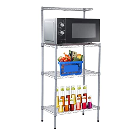 4 Tier Bakers Rack Microwave Stand Storage Rack, Adjustable Kitchen Bakers  Rack Stainless Steel