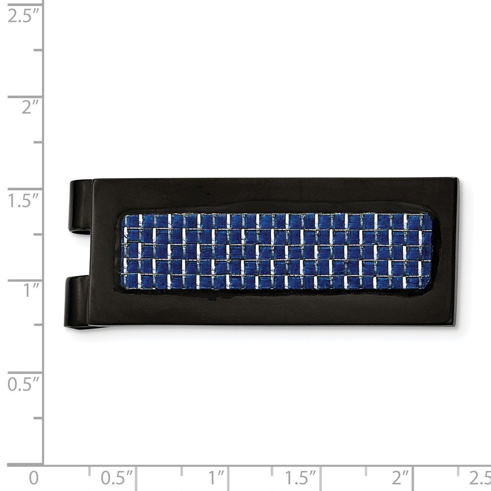 Saris and Things Stainless Steel Polished Black IP with Blue Carbon Fiber Inlay Money Clip