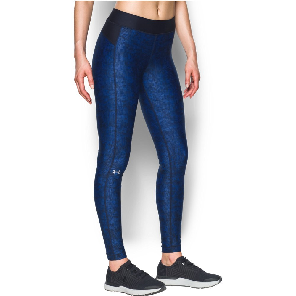 Under Armour Girls' HeatGear Armour Printed Leggings,Lapis Blue /Metallic Silver, X-Small