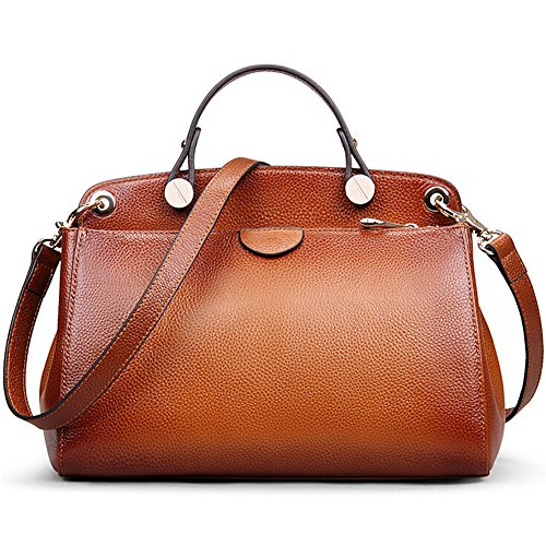 AB Earth Genuine Leather Designer Handbag for Women Doctor Style Top-handle Tote Cross Body Shoulder Bag (Brown) - Genuine Leather Doctor Style Handbag