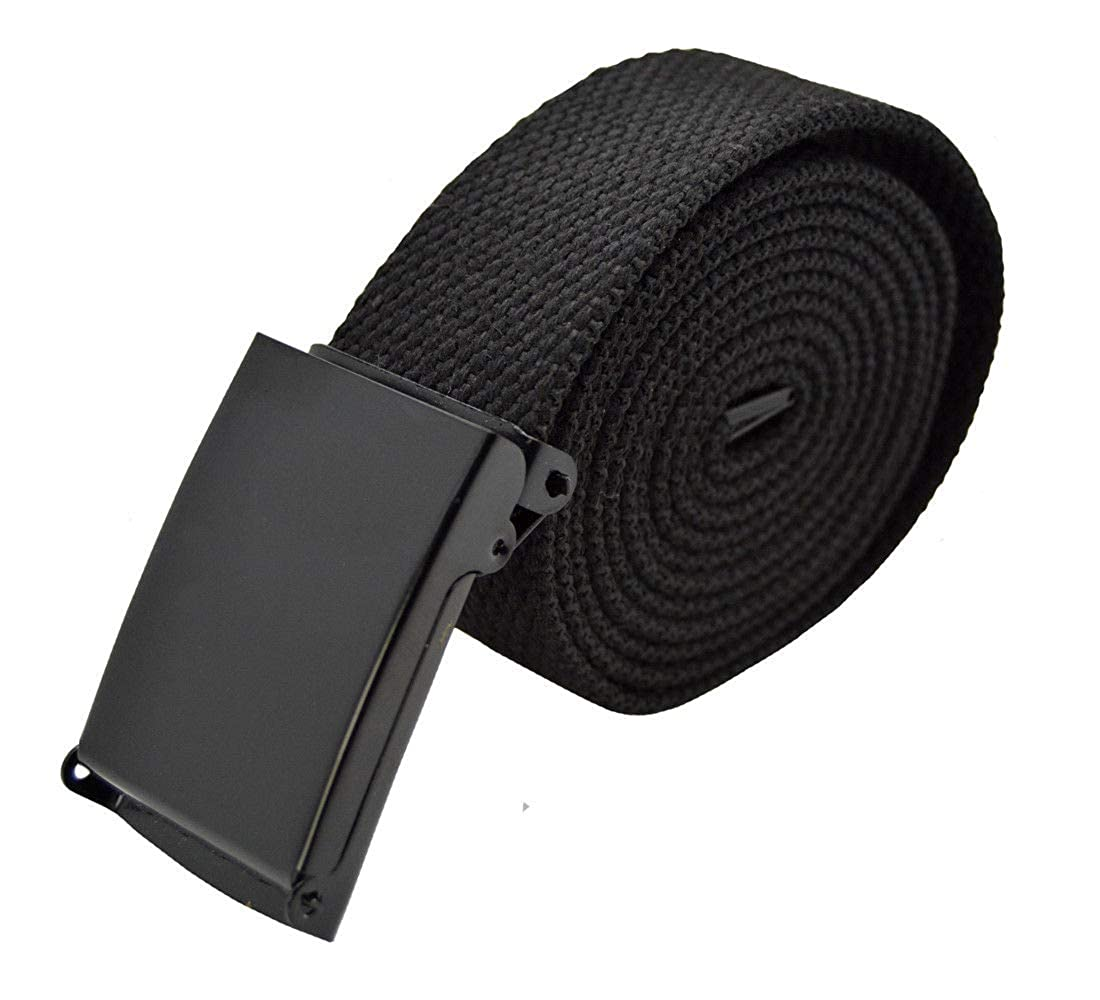 Flip Black Canvas Web Belt Military Style Plain Belt /& Buckle #AAAS