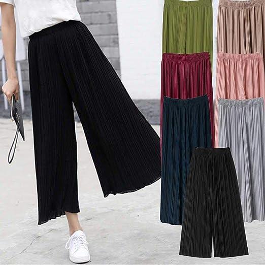 Comaie Pantalones de Gasa para Mujer, Cintura Alta, Falda de ...