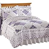 Collections Etc Wilmington Floral Patchwork Reversible Lightweight Quilt, King