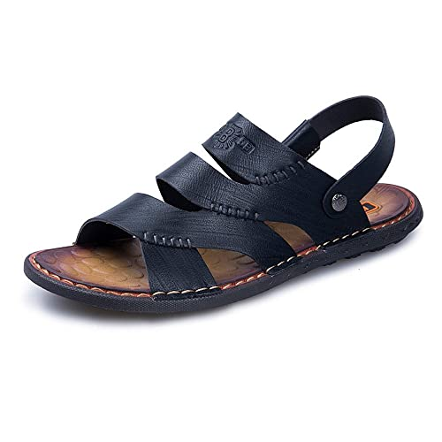 Yao Pantoufles de Plage en Cuir, Été Décontracté Souple Anti-Dérapant Confortable Ourdoor Chaussures de Sport Sandales Réglable Dos-Nu pour Les Hommes (Couleur : Khaki, Size : 44 EU)