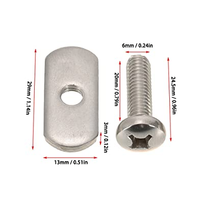4 Screws /& Track Nuts Hardware Mounting Replacement Kit For Kayaks Canoes