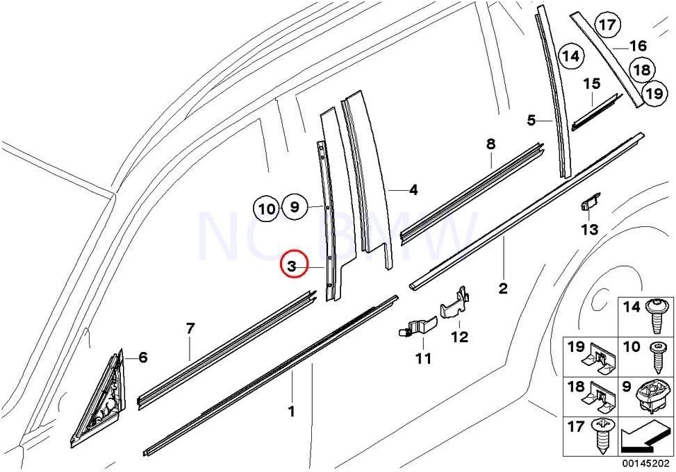 BMW 3 Series E90 E91 LCI Finisher Window Frame B-pillar Trim Left Front N//S