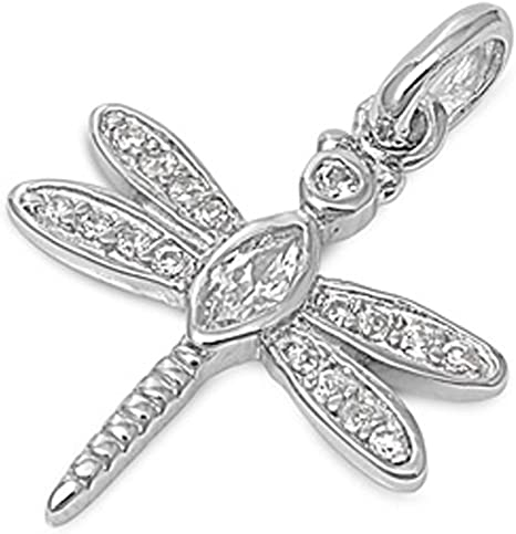 Sterling Silver Black and Clear CZ Dragonfly Charm Pendant