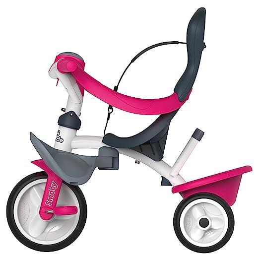 Triciclo Baby Balade 2 rosa con volquete y ruedas silenciosas (Smoby 741101)