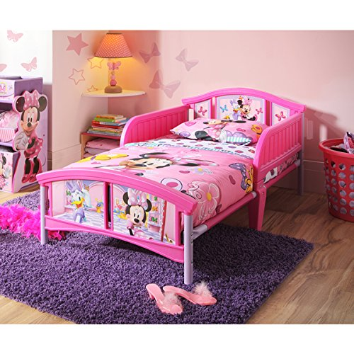 Disney Minnie Mouse Pink/Purple/White Plastic Toddler Bed by Disney