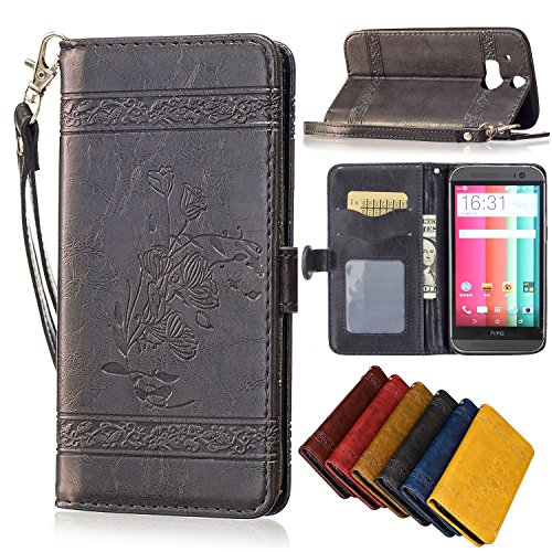 HTC One M8 Case, M8 case wallet, SinYong [Card Slot] [Stand Feature] Premium PU Leather Embossed Folio Flip Case with Strap for HTC One M8 - Black