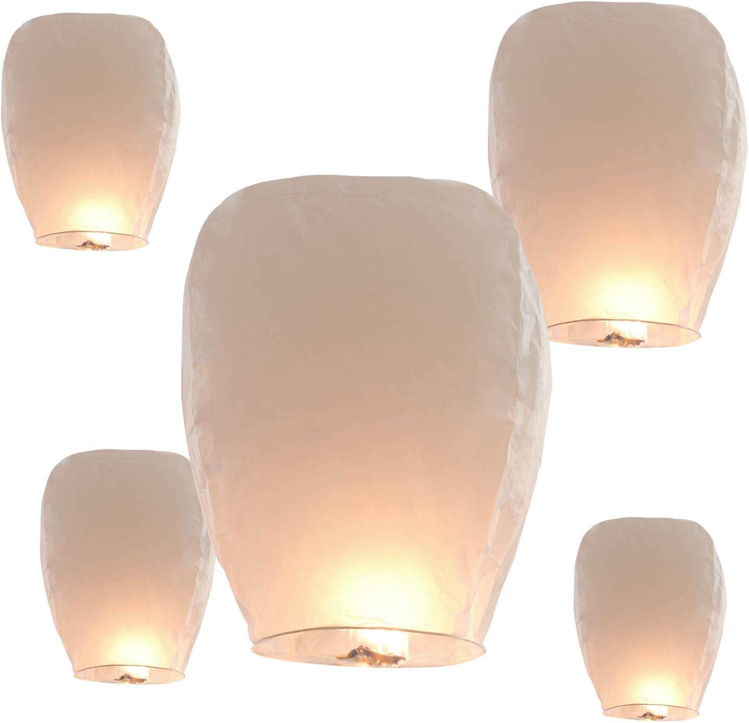 ILLUMINEW Sky Lanterns, Wishing Lanterns Biodegradable Paper Chinese Lanterns for Party, Birthday, New Years, Wedding Decorations (White-5)