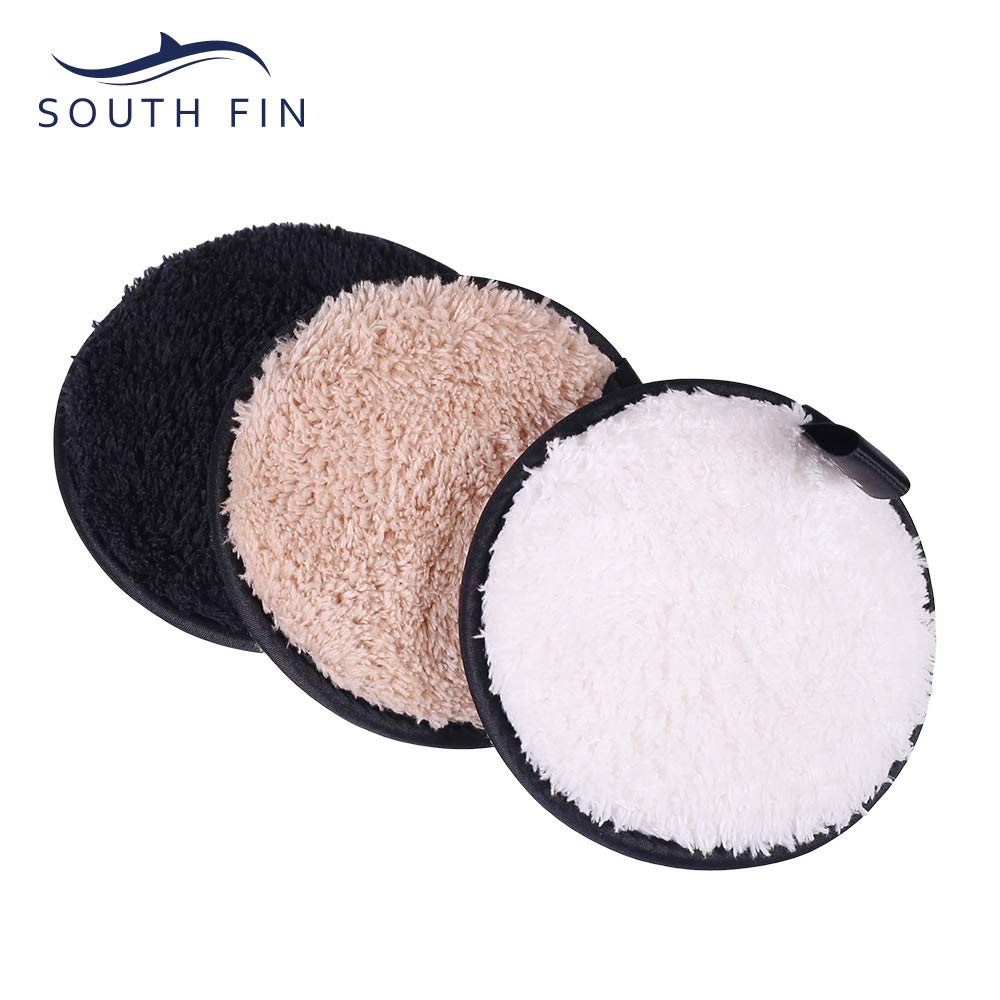 SOUTH FIN Reusable Makeup Remover Pads Eye Cotton Pad Cleaning Wipe Puff - Chemical Free Washable Soft Facial and Skin Care Cleaning Cotton Pads (3 Pack)