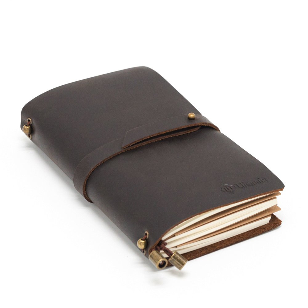 LIFEMATE Leather Notebook AMAZING BUNDLE Journal - Antique Soft Leather Notebook Refillable Travelers Journal (Black) (M)