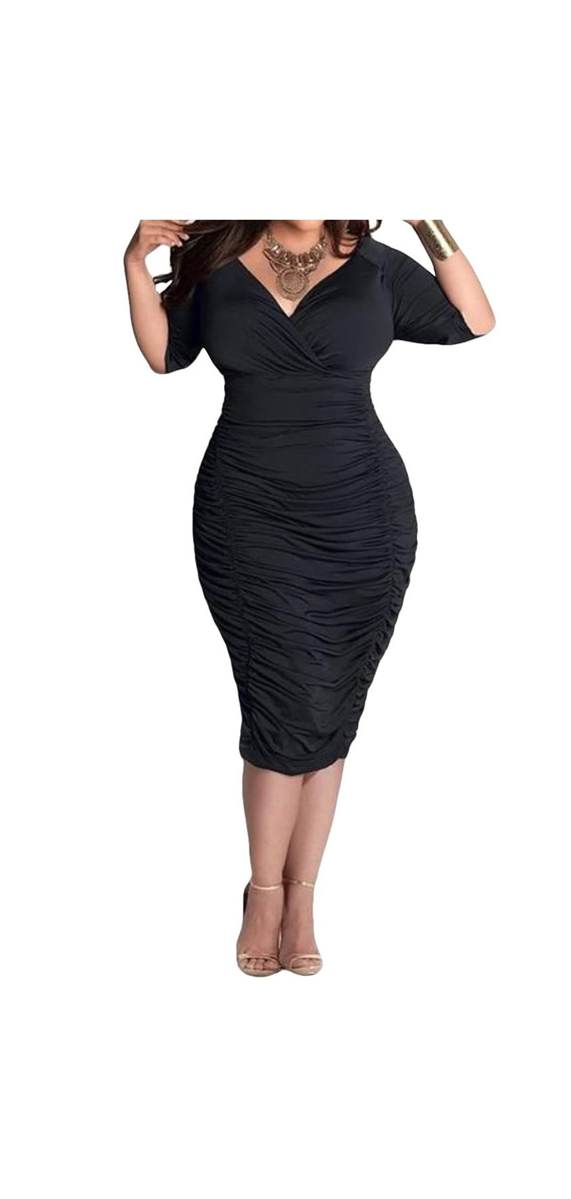 Womens Plus Size Deep V Neck Wrap Ruched Waisted Bodycon