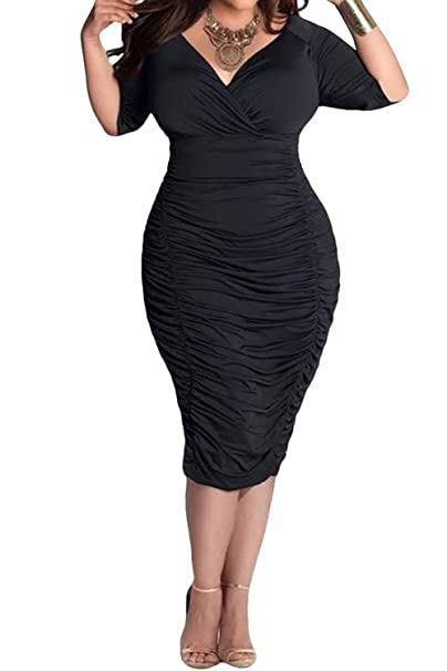 POSESHE Womens Plus Size Deep V Neck Wrap Ruched Waisted Bodycon Dress
