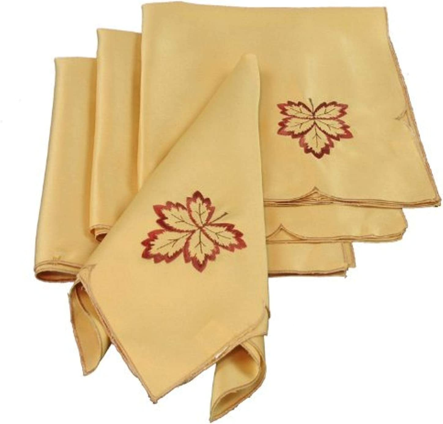 Xia Home Fashions Bountiful Leaf Embroidered Cutwork Harvest Fall Napkins, 21 by 21-Inch, Set of 4