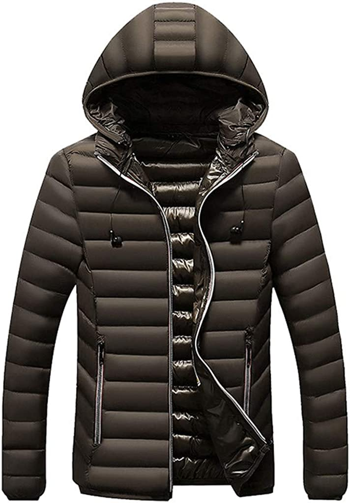 HebeTop Mens Lightweight Water Resistant Hooded Quilted Poly Padded Puffer Jacket Coat
