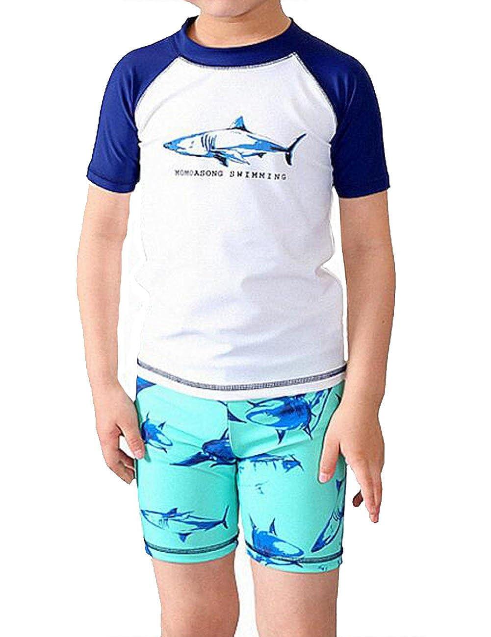 Summer Kids Boys Shark Rash Guard Swimsuit Set Beach Wear with Cap F276