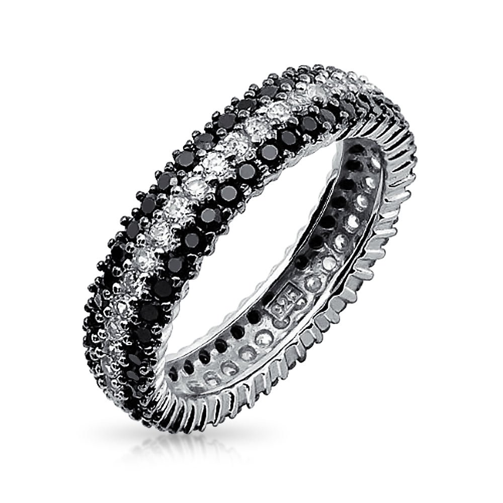 925 Silver Round Clear and Simulated Onyx CZ Eternity Ring