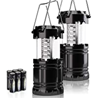 2 Pack Battery Powered LED Lantern Lamp for Camping, Emergency Light for Home Power Failure, Essential Supplies for…