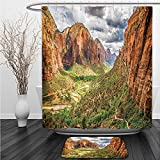 Vipsung Shower Curtain And Ground MatNational Parks Decor Utah Plateau Mojave Desert Southwest Erosion Navajo Artprint Brown GreenShower Curtain Set with Bath Mats Rugs